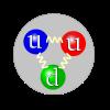 Représentation schématique de la composition en quarks de valence d'un proton, avec deux quarks u et un quark d. L'interaction forte est transmise par des gluons (représentés ici par un tracé sinusoïdal). La couleur des quarks fait référence aux trois types de charges de l'interaction forte: rouge, verte et bleue. Le choix de couleur effectué ici est arbitraire, la charge de couleur circulant à travers les trois quarks.