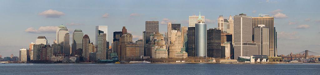 Vue panoramique de Lower Manhattan prise à partir du ferry de Staten Island.