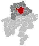 Situation de la ville au sein del'arrondissement et de la province de Namur