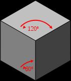 cube vu en perspective isométrique