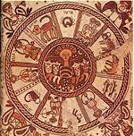Mosaïque du VIème siècle de la synagogue de Beit Alpha, Israel, représentant les signes du zodiaque.