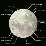 Carte des mers et des principaux cratères lunaires