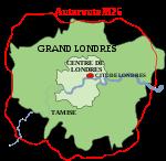Plan de la Cité de Londres, du centre de Londres, du Grand Londres et de l'autoroute M25.