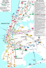 L'actuel plan du réseau métropolitain de New York (stations principales seulement)
