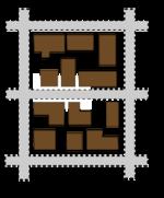 Exemple d'îlots ouverts: bâtiments de formes variées, placés en quinconce dans une trame urbaine traditionnelle