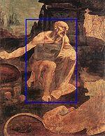 Le personnage de Saint-Jérôme est-il judicieusement encadré par un rectangle d'or?