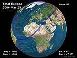 Parcours de l'ombre de l'éclipse à la surface du globe le 29 mars 2006
