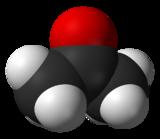 Formule semi-développée et représentation 3D de l'acétone