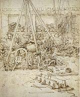 Système d'artillerie dessiné par Léonard de Vinci