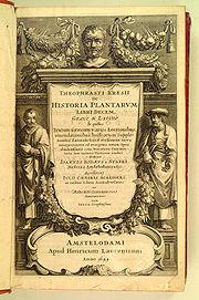 Courverture d'une version de 1644 d'une édition amplifiée et illustrée de Historia plantarum (env. 1200), qui fut originellement écrite autour de 200 av. JC.