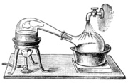 Dessin d'un alambic de laboratoire