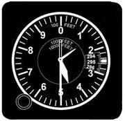 Cadran d'un altimètre d'aviation