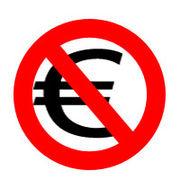 Un panneau d'interdiction repr�sentant le symbole de l'euro (ou du dollar, ...) barr�, symbole de la gratuit� (et �galement l'anticapitalisme)