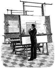 Architecte sur une planche à dessin, 1893