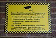 Panneau signalant une vidéosurveillance (Royaume-Uni)