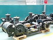 Bogie moteur de Citadis 302 à l'atelier de la Ligne 3 du tramway parisien