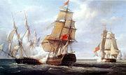 Le combat de la frégate française La Canonnière contre le vaisseau anglais Tremendous et une autre frégate, 21 avril 1806