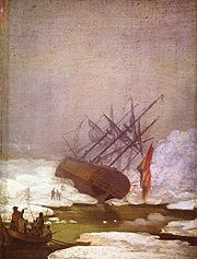 Tableau de C. D. Friedrich représentant un navire pris dans la banquise
