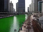 Centre de Chicago, le jour de la saint Patrick, la rivière teinte en vert