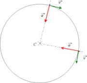 mouvement circulaire uniforme�: la vitesse est tangentielle et l'acc�l�ration est centrip�te - l'acc�l�ration et la vitesse n'�tant pas homog�nes, on utilise une �chelle diff�rente pour ces deux types de vecteur