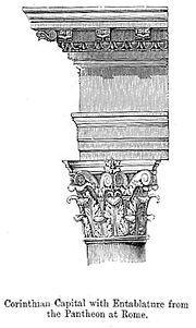 Chapiteau et entablement corinthien du Panthéon de Rome