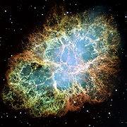 La Nébuleuse du Crabe, les restes d'une supernova observée pour la première fois aux environ de 1050 après J.C.