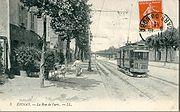 Le Tramway Enghien-Trinité sur la Route nationale à Epinay, avant 1912