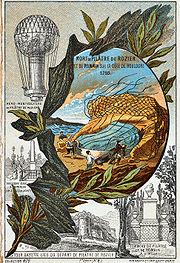 Carte postale commémorative de la mort de Pilâtre de Rozier et de Pierre Romain (v. 1895).