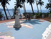 Indication du passage de l'équateur sur l'îlot d'Ilhéu das Rolas, São Tomé-et-Príncipe