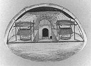 L'int�rieur d'un igloo en Alaska, dessin� en 1916.