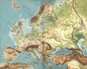 Carte de l'Europe géographique présentant les reliefs