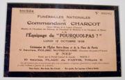 Faire-part des funérailles du commandant Charcot.