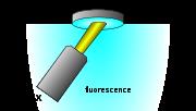 Montage de fluorescence en optique inversée: la surface analysée est ainsi toujours au niveau de référence