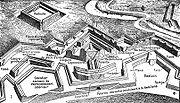 Plan d'une fortification en perspective isom�trique