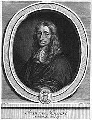 François Mansart - gravure par Edelinck d'après un portrait peint par Louis de Nameur - brûlé en 1720