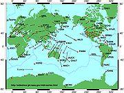 Vitesse et direction de différents points des plaques lithosphériques