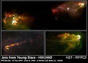 Les objets Herbig-Haro HH1 et HH2 sont le produit d'un choc d'un jet (issu d'une étoile jeune) avec le milieu interstellaire.