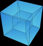 Une projection d'un hypercube (dans une image bi-dimensionnelle)