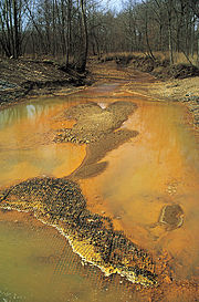 Pr�cipitation d'hydroxydes de fer dans un affluent du Missouri recevant des DMA d'une mine de charbon