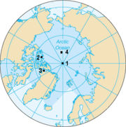 La position des quatre pôles en 2003:1: pôle Nord géographique;2: pôle Nord magnétique;3: pôle Nord géomagnétique;4: pôle Nord de l'inaccessibilité.