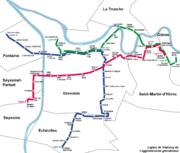 Plan des lignes de tramway de l'agglomération grenobloise