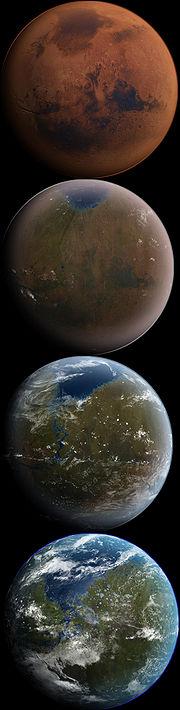 Vue d'artiste des différentes étapes de la terraformation de Mars