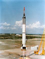 Lancement de la fusée Redstone et de la capsule Freedom 7 avec Alan Shepard le 5 mai 1961.
