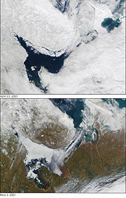 Deux photos satellite de la Mer Blanche