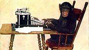 Avec suffisamment de temps, un chimpanzé comme celui-ci, qui tape au hasard sur le clavier d'une machine à écrire, pourra presque sûrement produire une copie d'une pièce de théâtre de Shakespeare.