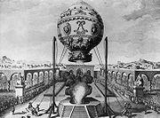 Gravure repr�sentant le 1er vol habit� � la Folie Titon, le 19 octobre       1783.