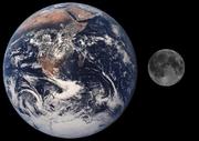 La Terre et son satellite, distance non respectée.