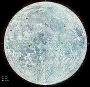 Les diff�rents atterrissages sur la Lune.