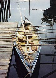 Une copie d'une baleinière traditionnelle au Musée maritime Mystic Seaport (Connecticut USA)
