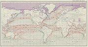les principaux courants marins (carte de 1943)